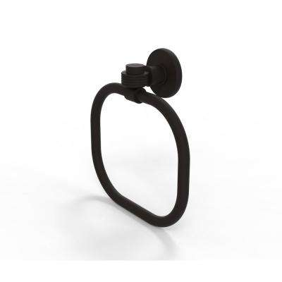 Continental Collection Towel Ring with Groovy Accents in Oil Rubbed Bronze