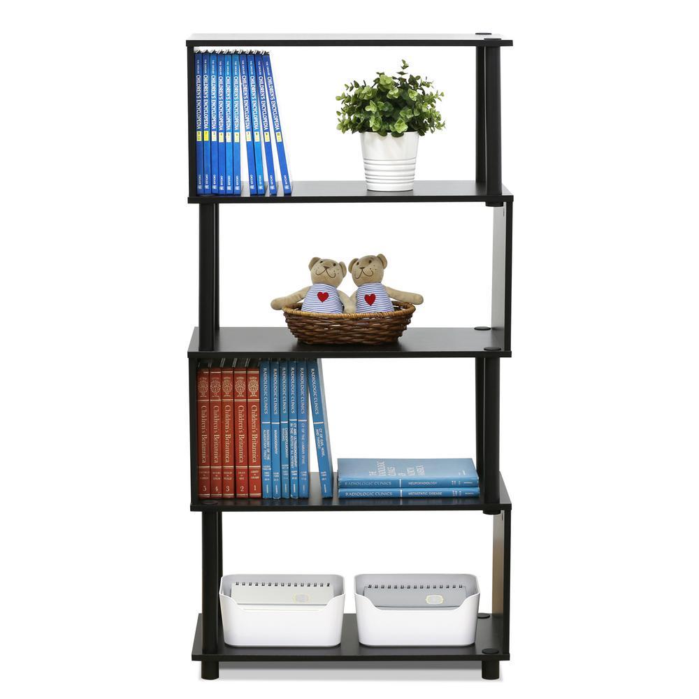 48 in. Espresso Plastic 5-shelf Etagere Bookcase with Open Back