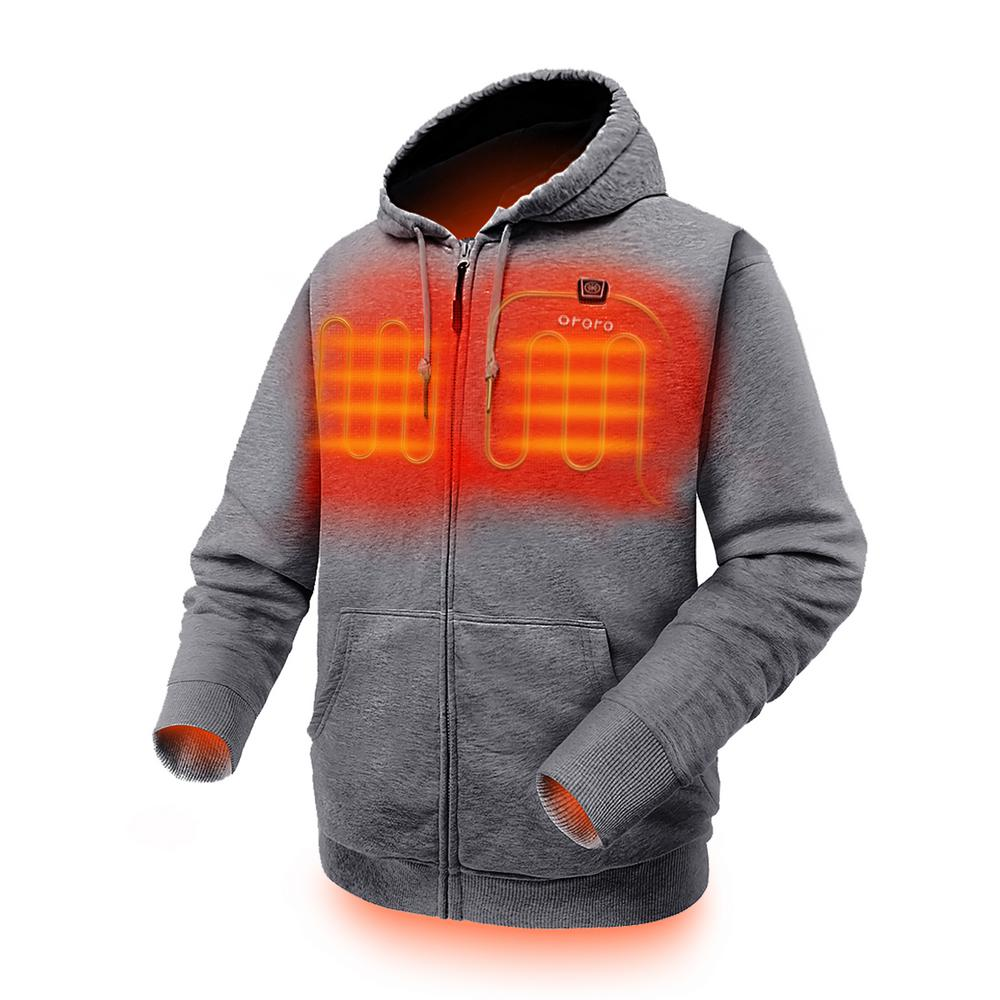 ORORO ORORO Men's Medium Gray 7.4-Volt Lithium-Ion Full-Zip Heated Hoodie Jacket with (1) 5.2Ah Battery and Charger, Flecking Gray