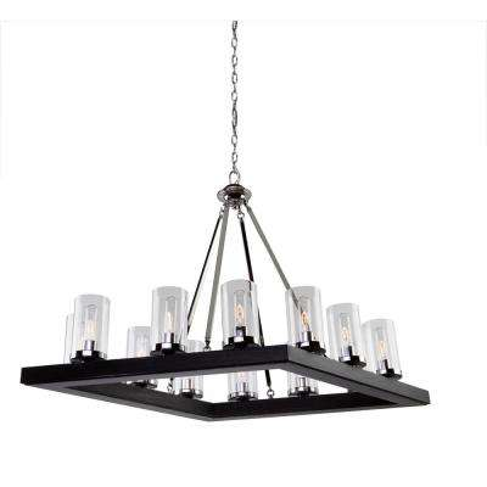 12light dark wood and chrome chandelier