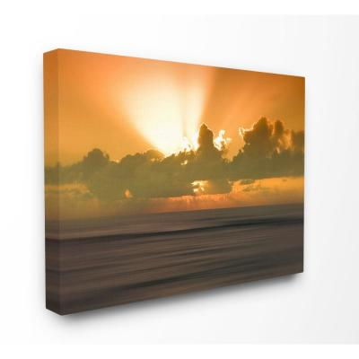 "16 in. x 20 in. ""Hawaii Kauai Bright Orange Sunset Radiance Ocean Photography"" by Artist Savanah Plank Canvas Wall Art"