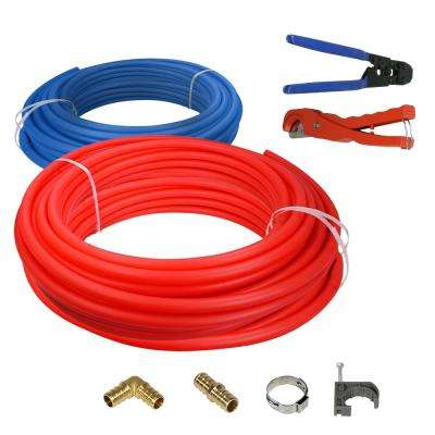PEX tubing Plumbing Kit - Crimper and Cutter Tools 1/2 in. x 500 ft. Tubing Elbow Cinch Half Clamp - 1 Red 1 Blue