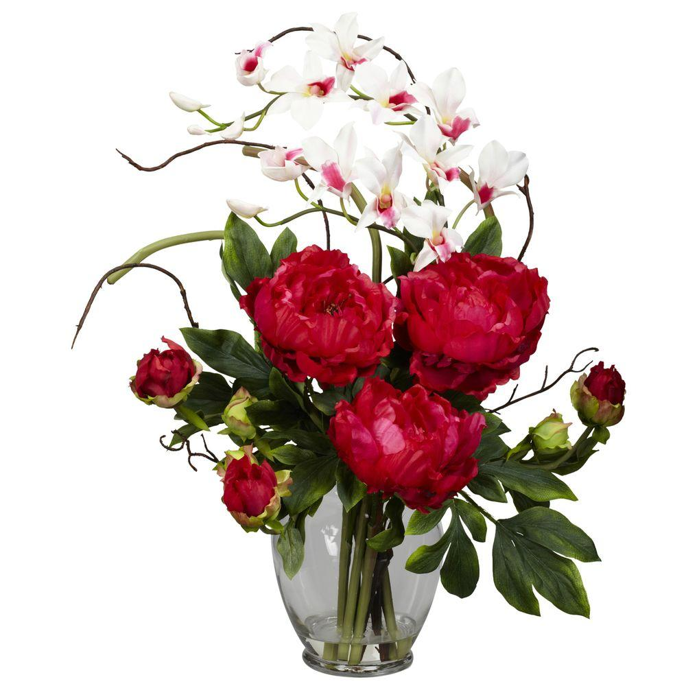 21.5 in. H Red Peony and Orchid Silk Flower Arrangement