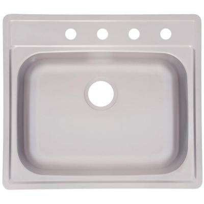Fhp Drop-In Satin Stainless Steel 25 in. 4-Hole Single Bowl Kitchen Sink