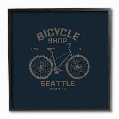 "12 in. x 12 in. ""Navy Blue and Gold Seattle Bicycle Shop Sign"" by Artist Bikini Sous La Pluie Framed Wall Art"