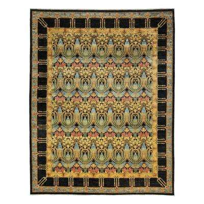 Suzani Black 9 ft. x 12 ft. Indoor Area Rug