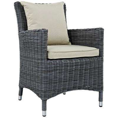 Summon Patio Wicker Outdoor Dining Chair with Sunbrella Antique Canvas Beige Cushions