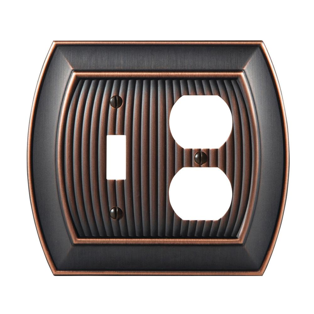 Sea Grass 1-Toggle and 1-Duplex Outlet Combination Wall Plate, Oil-Rubbed Bronze