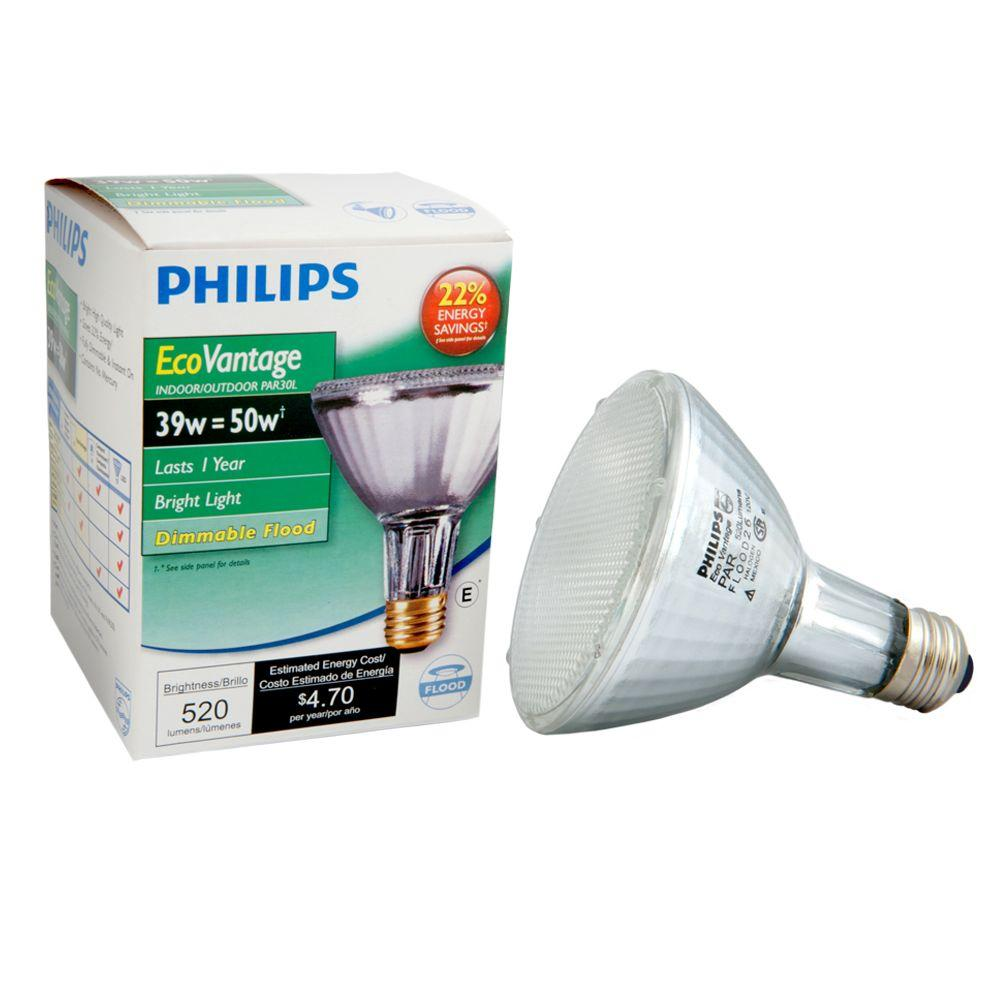 Philips 50W Equivalent Halogen PAR30L Dimmable Floodlight Bulb