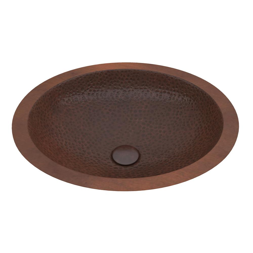 Roma 19 in. Handmade Drop-In Oval Bathroom Sink in Hammered Antique