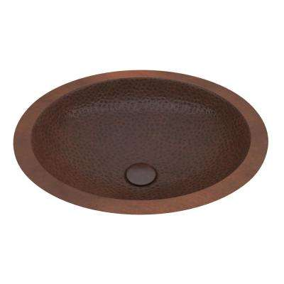 Roma 19 in. Handmade Drop-In Oval Bathroom Sink in Hammered Antique Copper