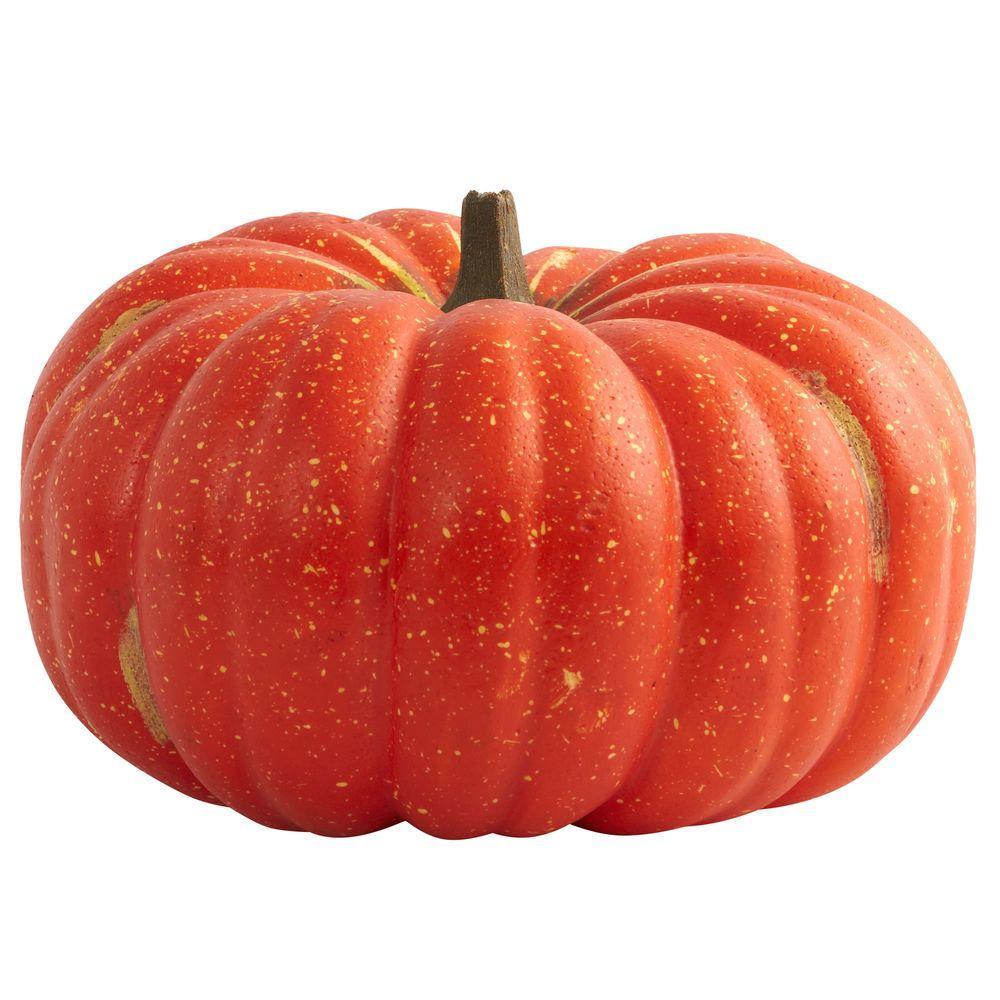 9 in. H Pumpkin Decor with Realistic Cut Stem