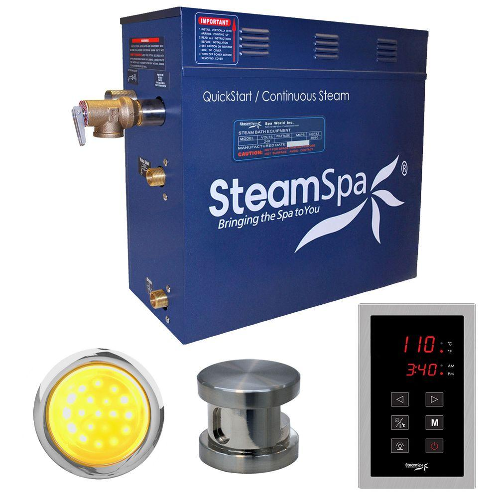Indulgence 9kW QuickStart Steam Bath Generator Package in Polished Brushed