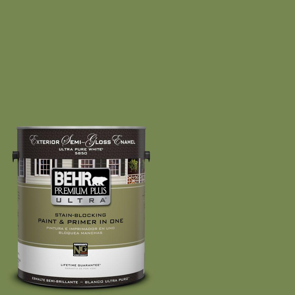 BEHR Premium Plus Ultra 1-gal. #HDC-SM14-2 Green Suede Semi-Gloss Enamel Exterior Paint