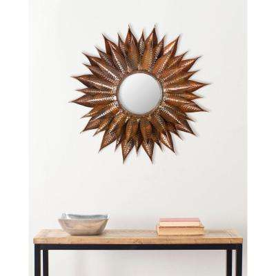 Sunflower 28.3 in. x 28.3 in. Iron and Glass Framed Mirror