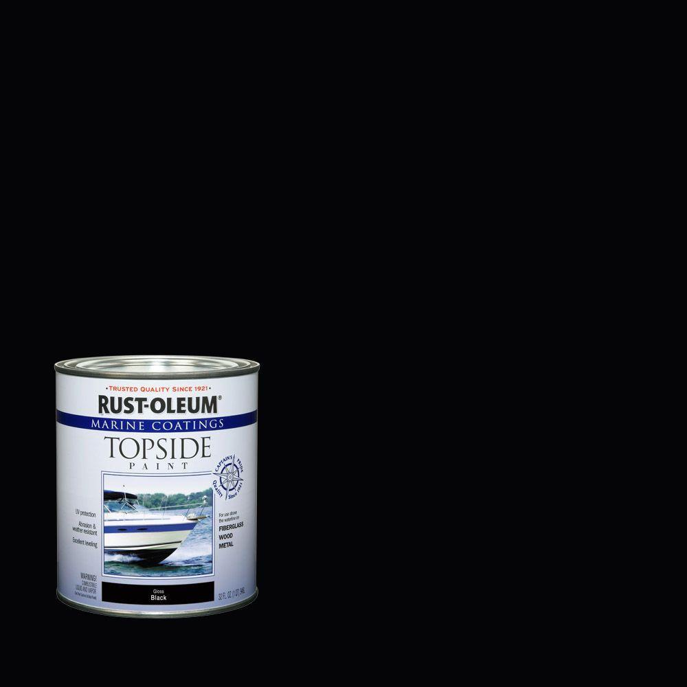 Rust-Oleum Marine 1 qt. Black Gloss Topside Paint (Case of 4)