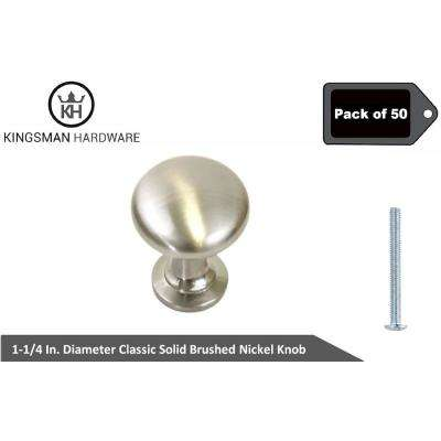 Classic 1-1/4 in. (32 mm) Dia Brushed Nickel  Solid Round Cabinet Knob (50-Pack)