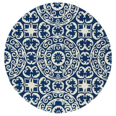 Kaleen Evolution Navy 8 ft. x 8 ft. Round Area Rug, Blue