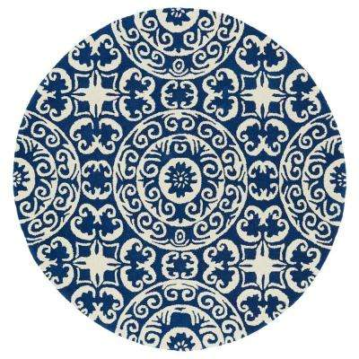 Evolution Navy 9 ft. 9 in. x 9 ft. 9 in. Round Area Rug