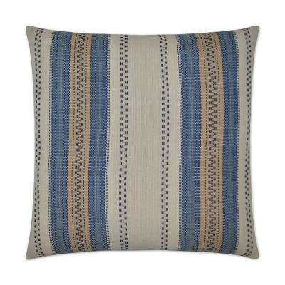 Rigadoon Blue Feather Down 24 in. x 24 in. Decorative Throw Pillow