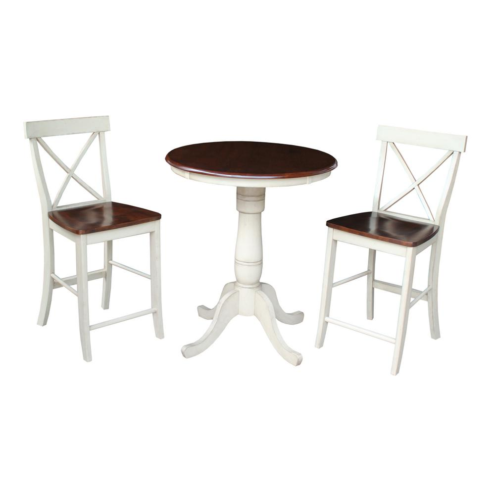 International Concepts X Back 3 Piece Almond And Espresso Bar Table Set