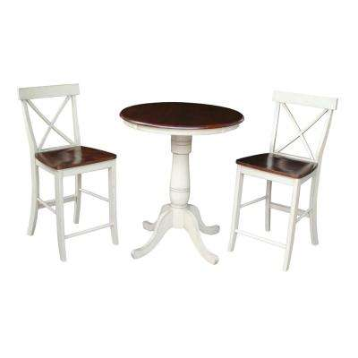 X-Back 3-Piece Almond and Espresso Bar Table Set