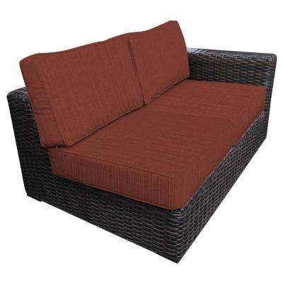 Santa Monica Patio Wicker Left Arm Outdoor Sectional Chair with Sunbrella Henna Dupione Cushion