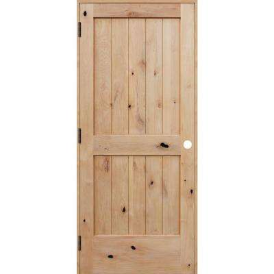28 in. x 80 in. Rustic Unfinished 2-Panel V-Groove Solid Core Knotty Alder Wood Reversible Single Prehung Interior Door
