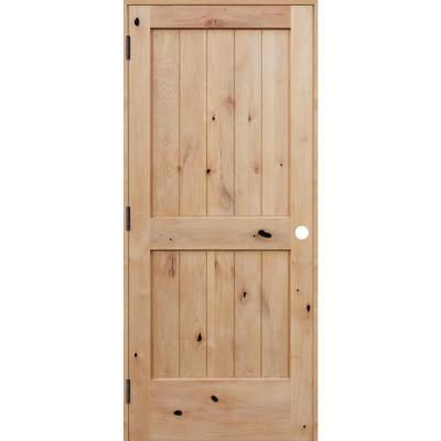 30 in. x 80 in. Rustic Unfinished 2-Panel V-Groove Solid Core Knotty Alder Wood Reversible Single Prehung Interior Door