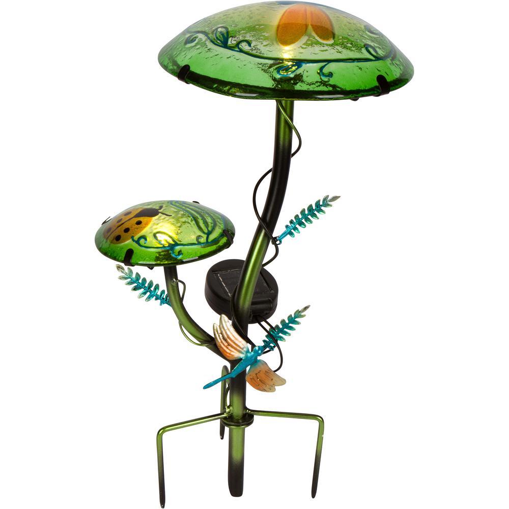 12 in. Solar Mushroom Garden Stake with Dragonfly Design in Light Green