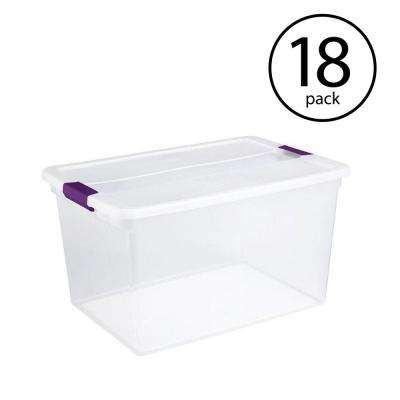 66 Qt. ClearView Latch Box Storage Tote Container, (18-Pack)