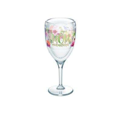 9 oz. Mom Watercolor Floral Wine Glass Tumbler