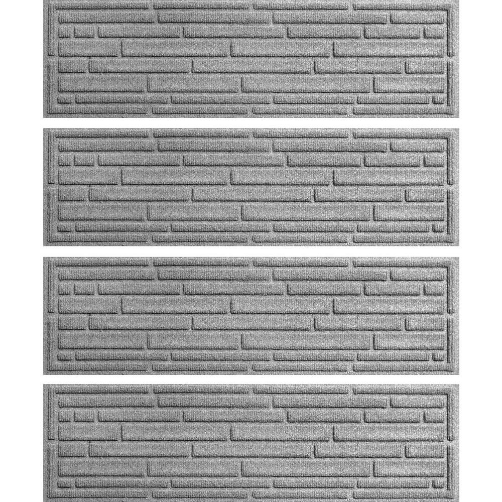 Medium Gray 8.5 in. x 30 in. Broken Brick Stair Tread Cover (Set of 4)