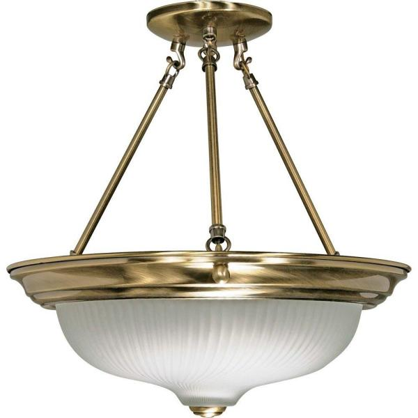 3-Light Antique Brass Semi-Flush Mount Light with Frosted Swirl Glass