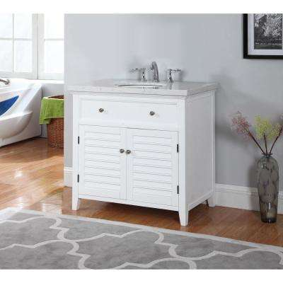 Truman 34 in. W x 20.7 in. D Vanity in White with Marble Vanity Top in Gray and White with White Basin