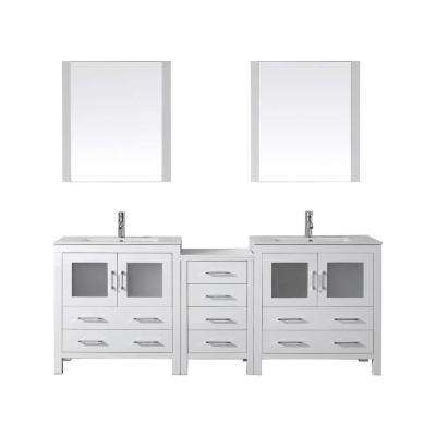 Dior 82 in. W Bath Vanity in White with Ceramic Vanity Top in Slim White Ceramic with Square Basin and Mirror and Faucet