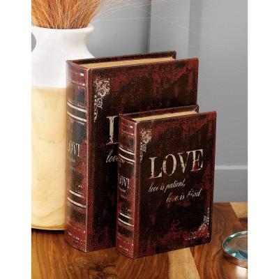 "Vintage Rectangular Wood and Faux Leather ""Love"" Book Boxes (Set of 3)"