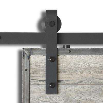 98-3/8 in. X 11 in. Barn Rail Sandy Black Steel Sliding Door Hardware Kit