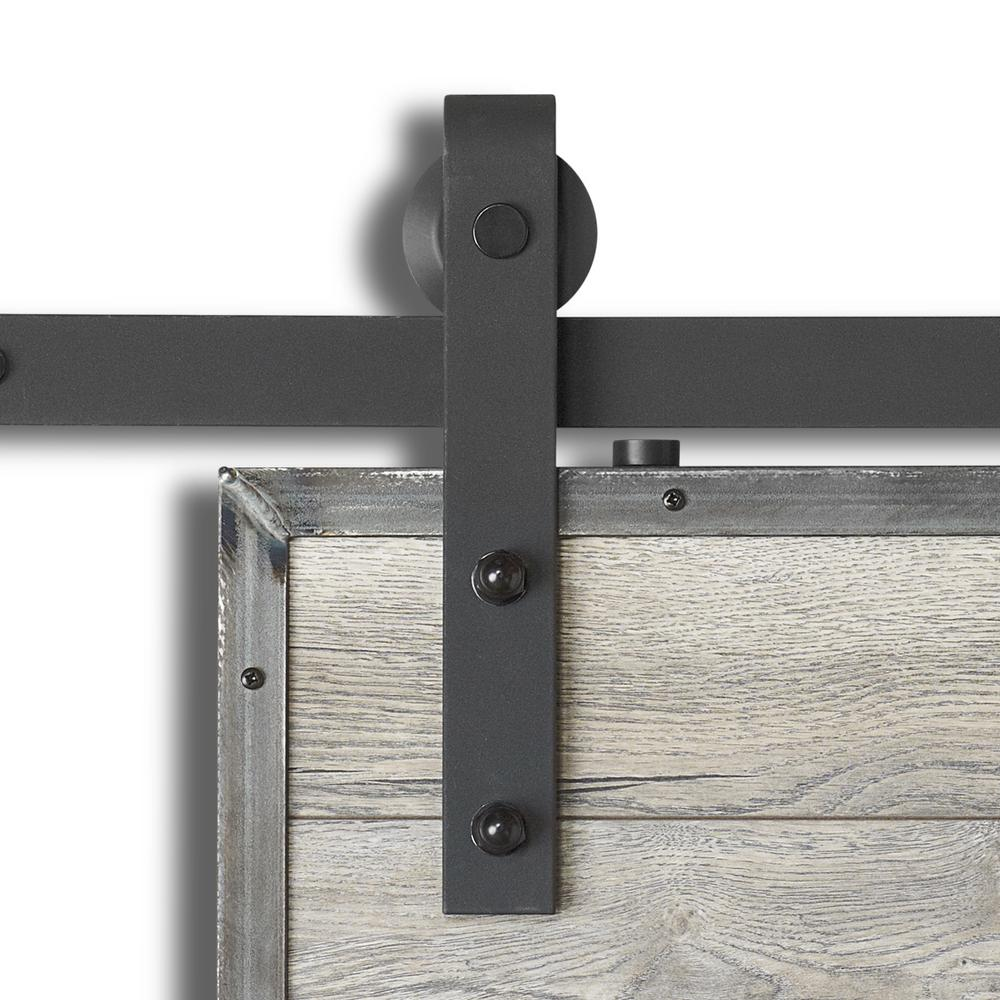 colonial elegance 98 3 8 in x 11 in barn rail sandy black steel sliding door hardware kit