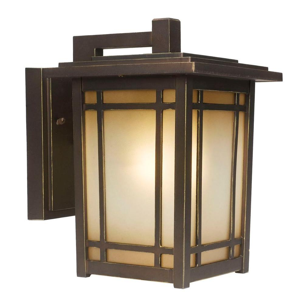 Home Decorators Collection Port Oxford 1 Light Oil Rubbed Chestnut Outdoor  Wall Mount Lantern 23212   The Home Depot