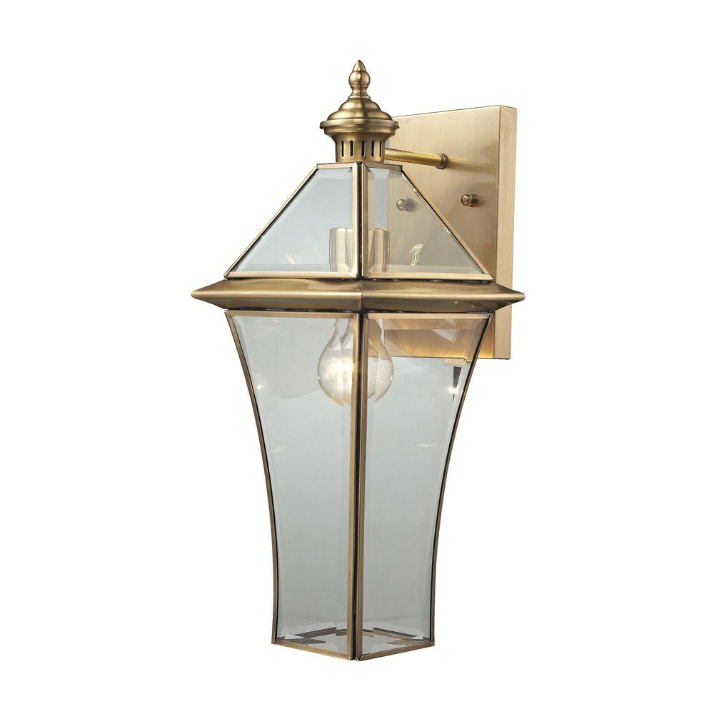 Riverdale 1-Light Brushed Brass Outdoor Sconce