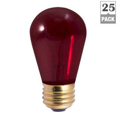 11-Watt S14 Transparent Red Dimmable Incandescent Light Bulb (25-Pack)