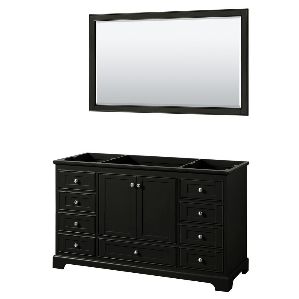 Deborah 59.25 in. Single Bathroom Vanity Cabinet Only with 58 in. Mirror in Dark Espresso