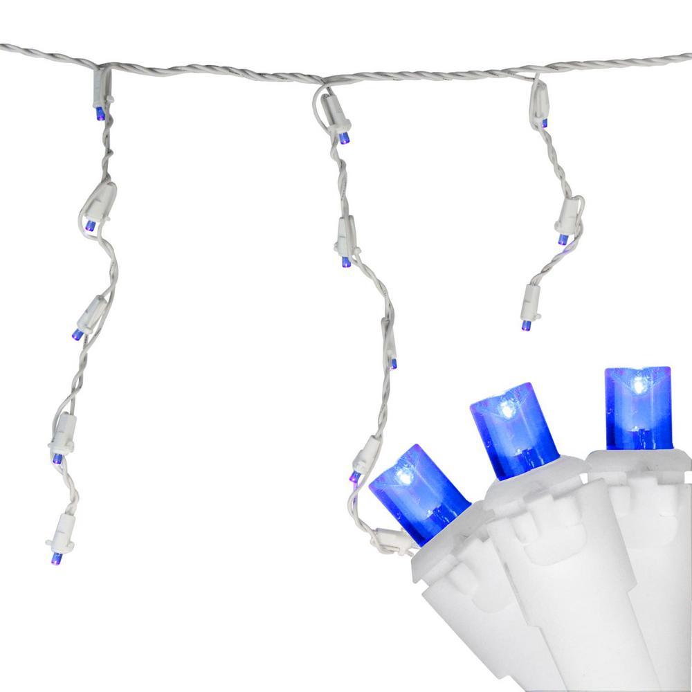 6.75 ft. 100-Light Blue LED Wide Angle Icicle Lights