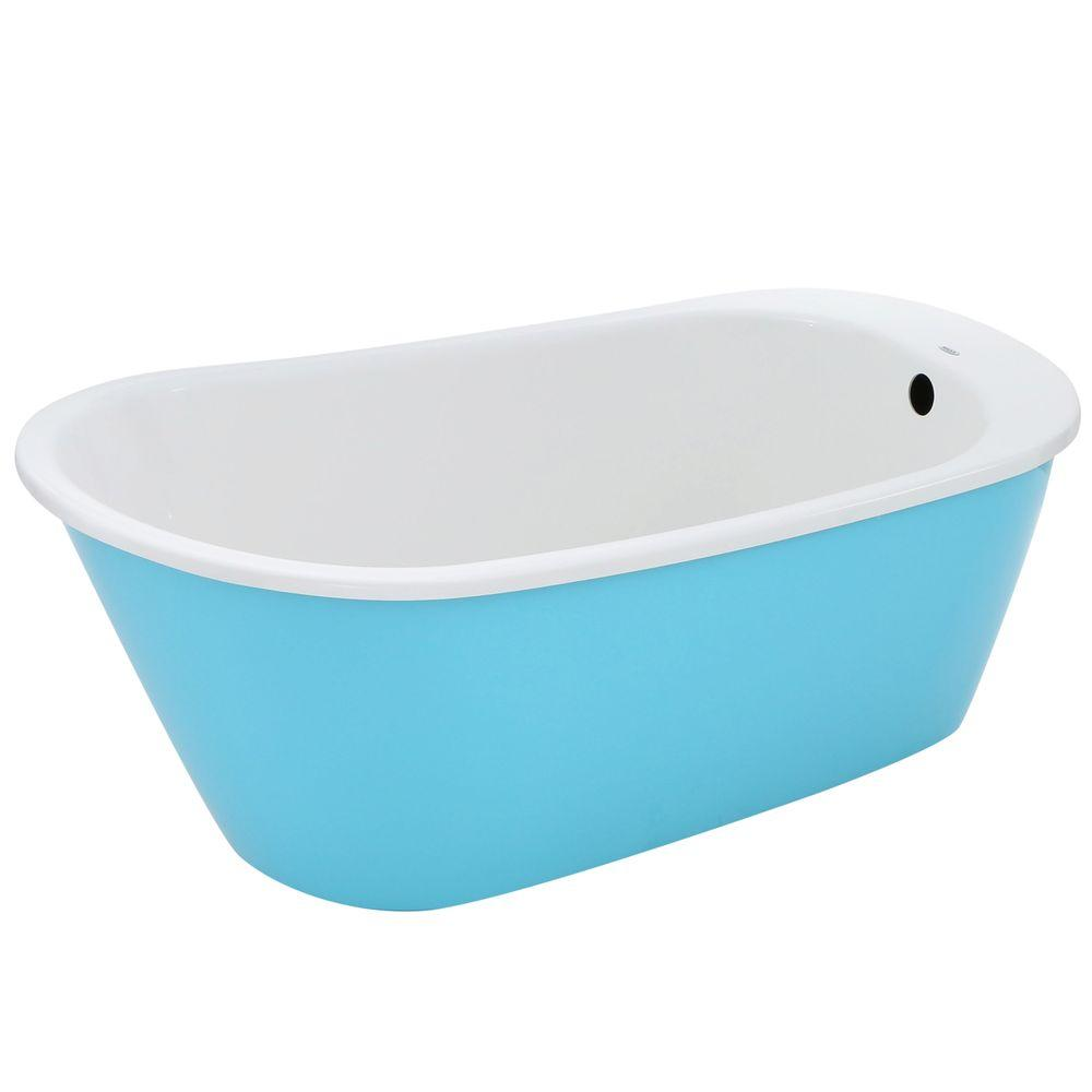 MAAX Sax 5 ft. Freestanding Reversible Drain Bathtub in White with Aqua Apron