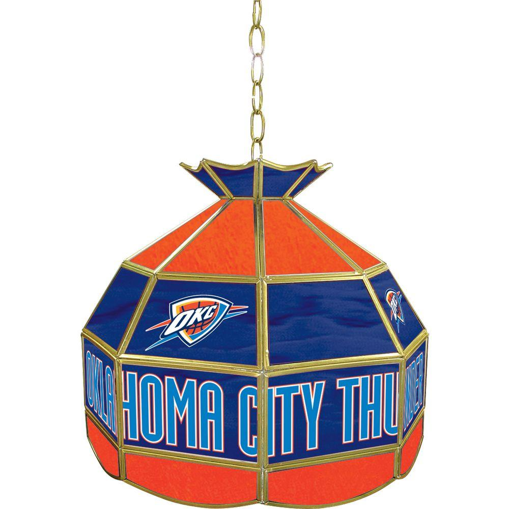 Oklahoma City Thunder NBA 16 in. Nickel Hanging Tiffany Style Lamp