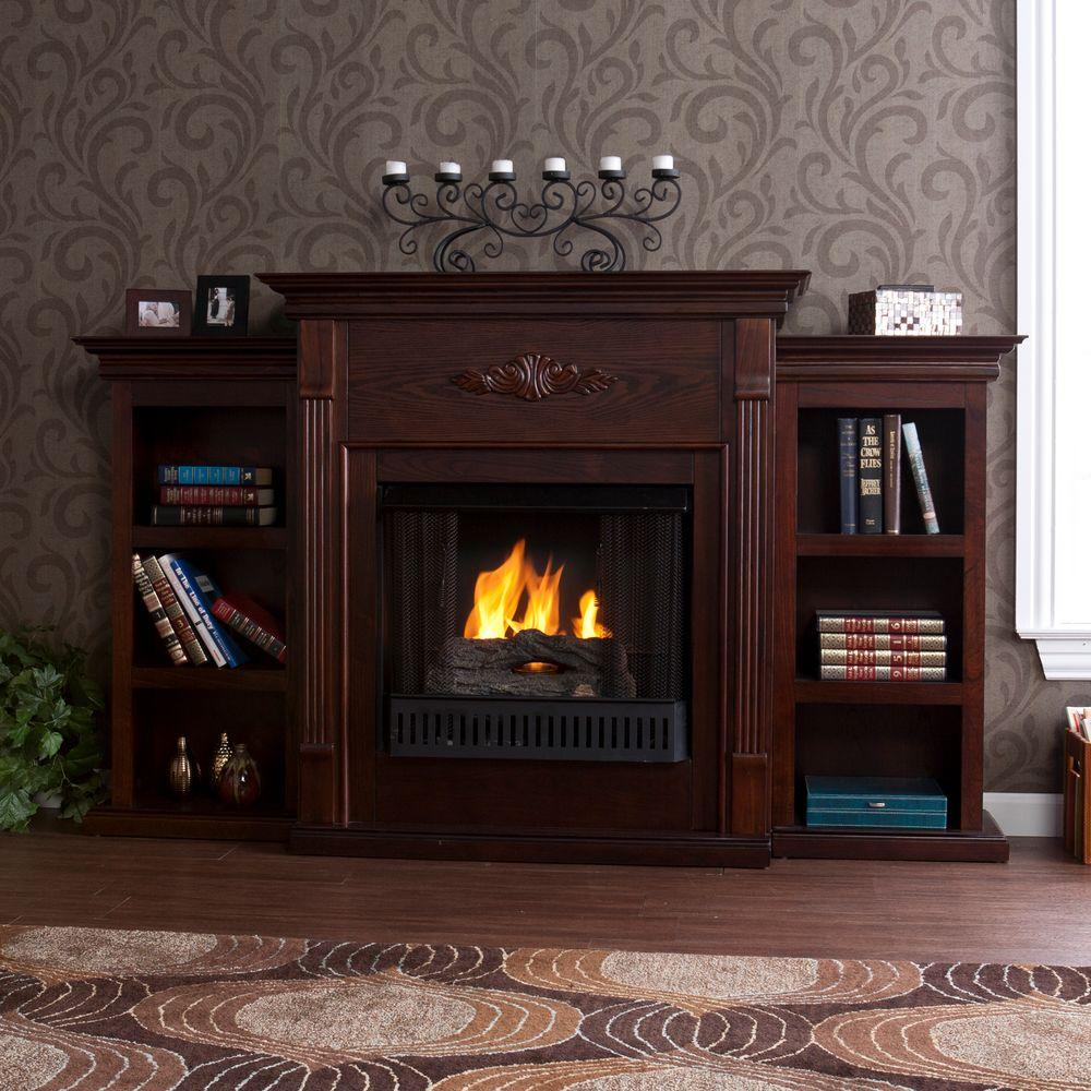 Southern Enterprises Tennyson 70 in. Gel Fuel Fireplace in Espresso with Bookcases
