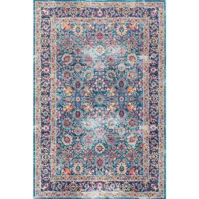 Vintage Persian Floral Isela Blue 6 ft. 7 in. x 9 ft. Area Rug