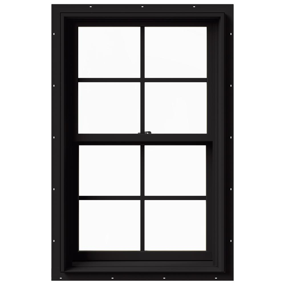 JELD-WEN 25.375 in. x 40 in. W-2500 Series Black Painted Clad Wood Double Hung Window w/ Natural Interior and Screen