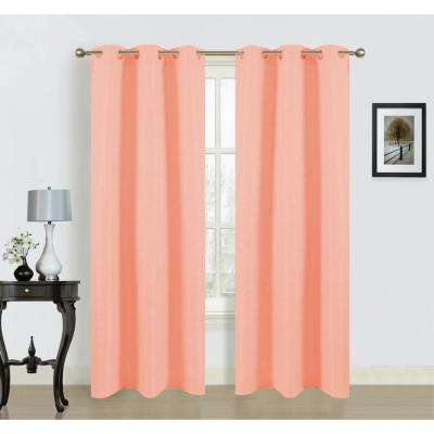 Blended Silk 38 in. W x 84 in. L Grommet Curtain Panel Pair in Peach (2-Pack)